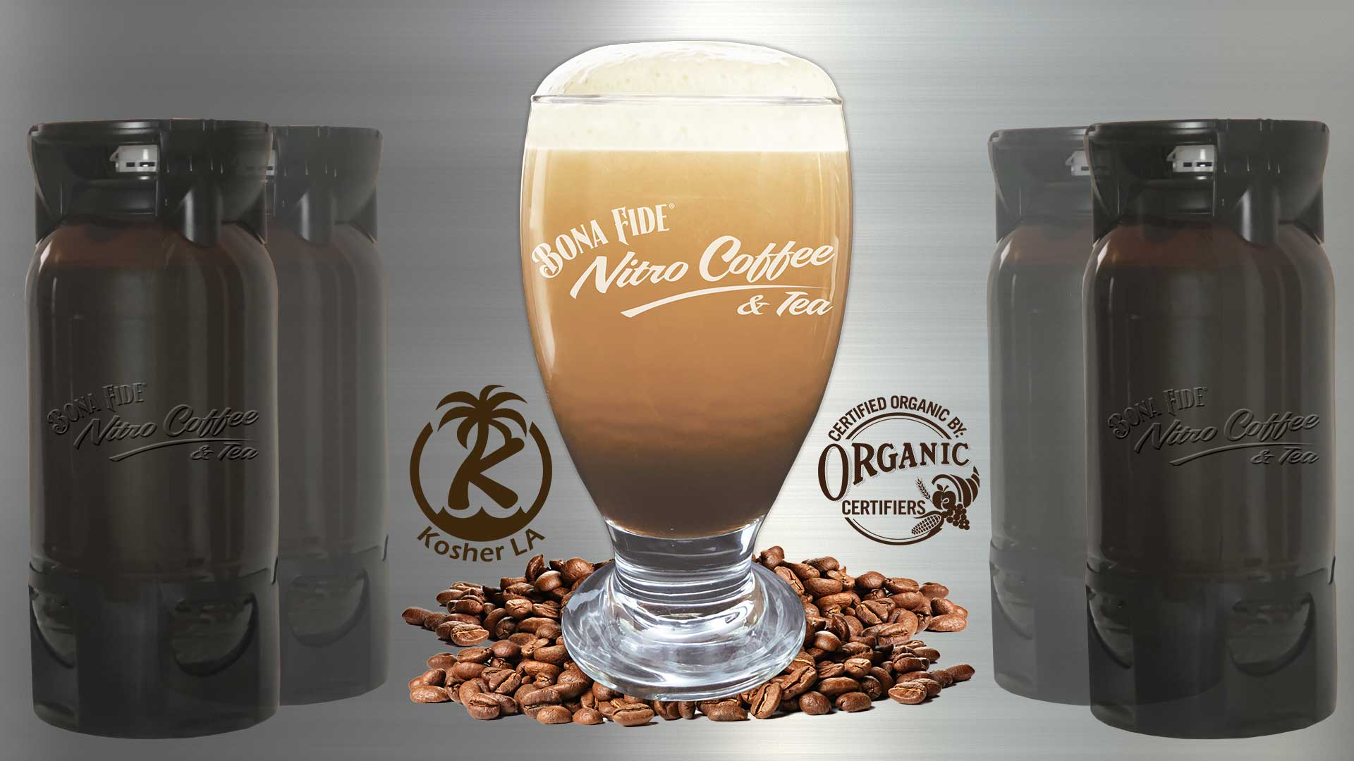 Pet kegs and Nitro coffee in glass produces by Bona Fide