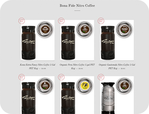 Nitro Coffee in Pet Kegs for offices, home and shops in our eshop Bona Fide